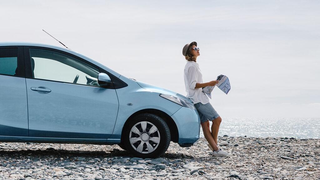 kvinna, bil, strand